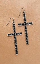 Isac Silver Cross with Black Rhinestones Dangle Earrings