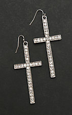 Isac Silver Cross with Clear Rhinestones Dangle Earrings