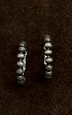 Wired Heart Silver Beaded Hoop Earrings