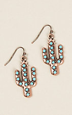 Antique Copper Cactus with Turquoise Earrings