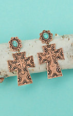 Isac Copper Cross with Turquoise Stone Dangle Earrings