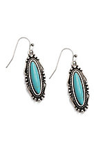 Wired Heart Turquoise Oval Dangle Earrings