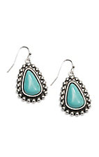 Wired Heart Turquoise Teardrop Dangle Earrings
