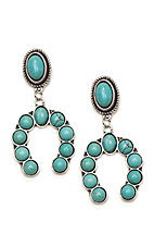 Wired Heart Turquoise Stone Post w/ Turquoise Horseshoe Drop Earrings