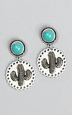 Wired Heart Turquoise Stone Post w/ Silver Cactus Charm Drop Earrings