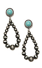 Wired Heart Turquoise Stone Post w/ Silver Beaded Drop Earrings