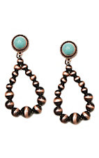 Wired Heart Turquoise Stone Post w/ Copper Beaded Drop Earrings