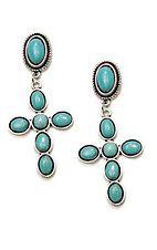 Wired Heart Turquoise Stone Post w/ Turquoise Cross Drop Earrings