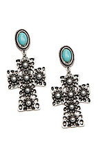 Wired Heart Turquoise Stone Post w/ Silver Cross Drop Earrings