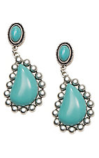 Wired Heart Turquoise Stone Post w/ Turquoise Teardrop Earrings