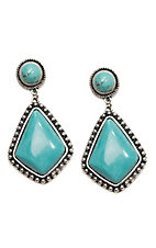 Wired Heart Turquoise Stone Post w/ Turquoise Diamond Drop Earrings