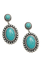 Wired Heart Turquoise Stone Post w/ Turquoise Round Drop Earrings