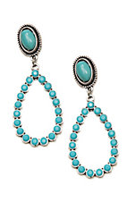 Wired Heart Turquoise Stone Post w/ Turquoise Rhinestone Drop Earrings