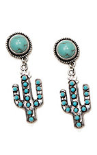 Wired Heart Turquoise Stone Post w/ Turquoise Cactus Drop Earrings