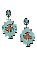 Wired Heart Turquoise Stone Post w/ Turquoise Wood Cutout Drop Earrings