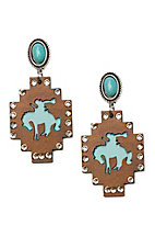 Wired Heart Turquoise Stone Post w/ Brown Wood Cutout Drop Earrings