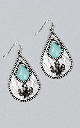 Wired Heart Tarnished Cactus & Turquoise Earrings