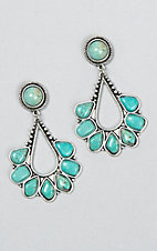 Wired Heart Silver with Turquoise Teardrop Earrings