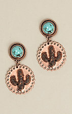 Wired Heart Natural Stone Turquoise Cactus Post Earrings