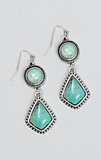 Wired Heart Silver with Natural Stone Turquoise Teardrop Earrings