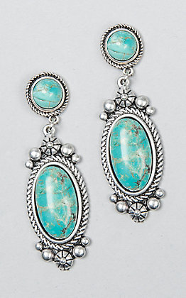 Wired Heart Women's Natural Stone Turquoise Post Earrings