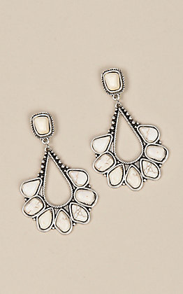 Wired Heart Silver with White Teardrop Earrings