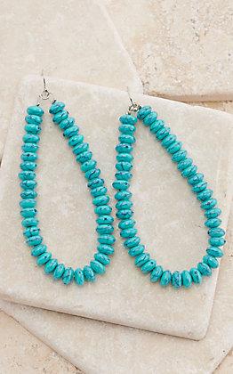 Turquoise Beads Open Teardrop Dangle Earrings
