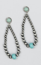 Wired Heart Silver with Turquoise Post Earrings