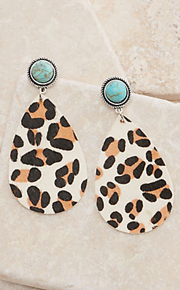 Leopard Leather Teardrop with Turquoise Post Earrings