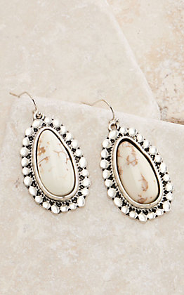 Silver Oval with White Stone Center Dangle Earrings