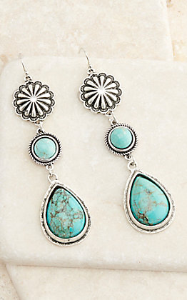 Silver Concho with Turquoise Teardrop Dangle Earrings