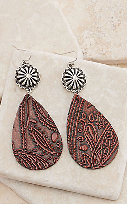 Brown Tooled Leather Teardrop with Silver Concho Post Dangle Earrings
