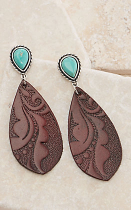 Brown Tooled Leather Teardrop with Turquoise Post Earrings