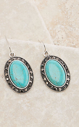 Silver Oval Turquoise with Crystals Dangle Earrings