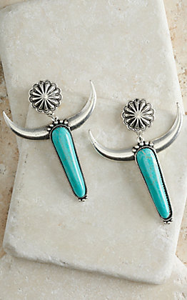 Silver Longhorn with Turquoise Stone and Concho Earrings