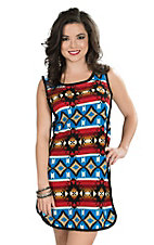 Uncle Frank Women's Blue, Red, and Cream Aztec Print Sleeveless Dress