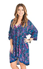 Uncle Frank Women's Navy, Teal, and Pink Print Long Sleeve Dress
