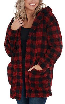 Hem & Thread Women's Red & Black Plaid Fuzzy Cardigan
