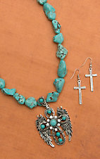Turquoise with Silver Angel Wing Drop Pendant Necklace and Earring Set