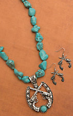 Turquoise with Silver Horseshoe & Pistols Drop Pendant Necklace and Earring Set