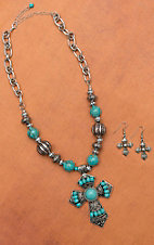 Turquoise and Silver Big Cross Pendant Set