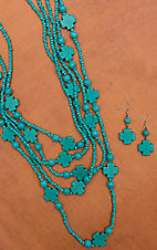 Turquoise Cross Layered Necklace and Earring Set