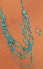 Long and Chunky Turquoise Layered Necklace Set 730145TQ