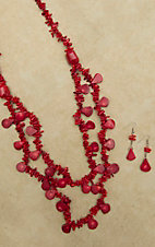 Long Double Strand Natural Coral Necklace and Earring Set