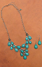 Silver and Turquoise Bib Necklace and Earring Set