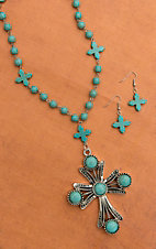 Silver Cross Drop Pendant with Turquoise Beads Long Necklace and Earring Set