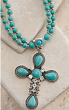 Turquoise and Silver Cross Drop Pendant Extra Long Necklace and Earring Set