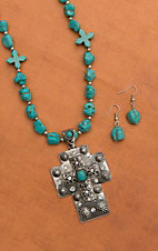 Turquoise Stone Beaded Silver Cross Pendant Necklace and Earring Set