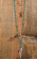 Wired Heart Turquoise Bead with Wing & Cross Pendant Necklace & Earrings Jewelry Set 730241