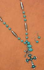 Turquoise and Silver Cross Drop Pendant with Charms Extra Long Necklace and Earring Set 730242